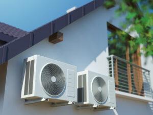 klimatyzacja na ścianie domu